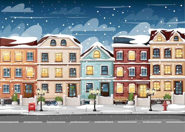 Rua coberta de neve com casas coloridas, banco de luzes de hidrantes, caixa de correio vermelha e arbustos em vasos, página do site de ilustração de estilo de desenho animado e aplicativo móvel