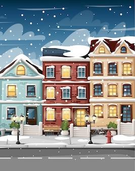 Rua coberta de neve com casas coloridas, banco de luzes de hidrantes e arbustos em vasos, página do site de ilustração de estilo de desenho animado e aplicativo móvel