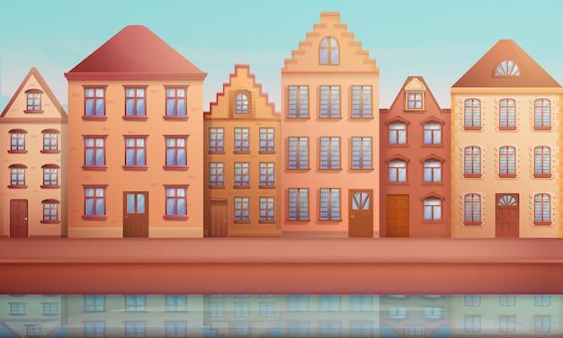 Rua com casas antigas, ilustração