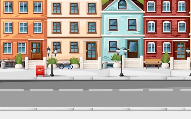 Rua com casas coloridas, banco de luzes de hidrantes, caixa de correio vermelha e arbustos na página do site de ilustração de estilo de vasos e aplicativo móvel