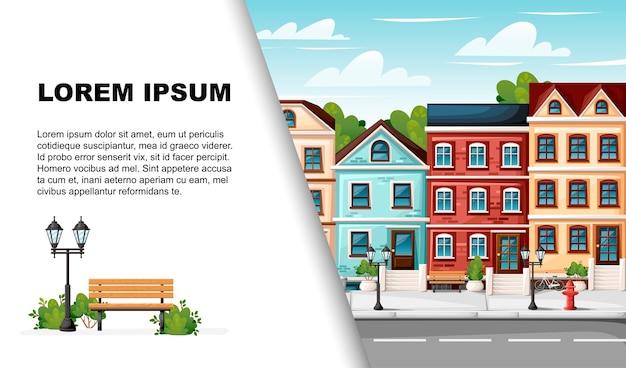 Rua com casas coloridas, banco de luzes de hidrantes, caixa de correio vermelha e arbustos
