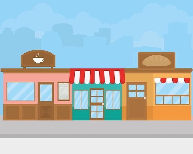 Rua com ilustração de lojas