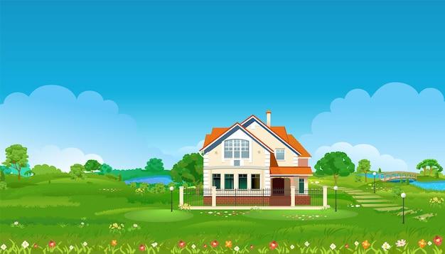 Rua com uma casa em um gramado verde com uma ilustração de cerca