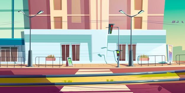 Rua da cidade com a estrada de carro e trilhos de bonde
