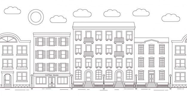 Rua da cidade com edifícios