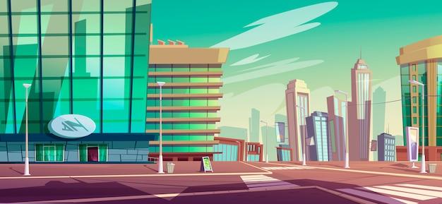 Rua da cidade com encruzilhada e arranha-céus