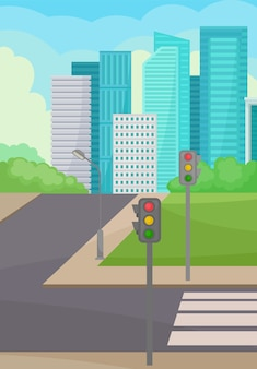 Rua da cidade com estrada, faixa de pedestres e semáforos
