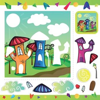 Rua da cidade de desenho animado com casas engraçadas - recorte e cole partes da imagem