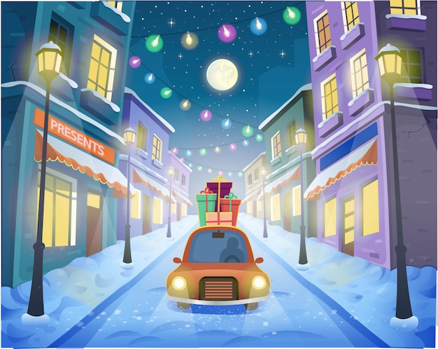 Rua da cidade de natal com lanternas e uma guirlanda com um carro e presentes. ilustração vetorial no estilo cartoon.