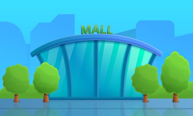 Rua da cidade dos desenhos animados com shopping center, ilustração vetorial