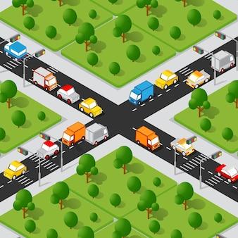 Rua da cidade em 3d isométrico de encruzilhada com carros, árvores, infraestrutura urbana