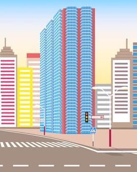 Rua da cidade moderna, olhar realista da cidade tranquila