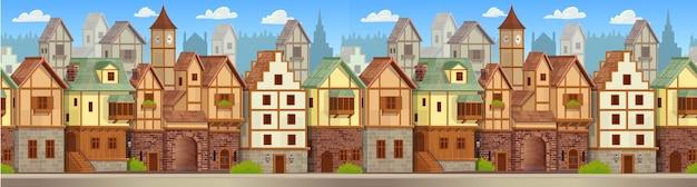 Rua da cidade velha com casas estilo chalé