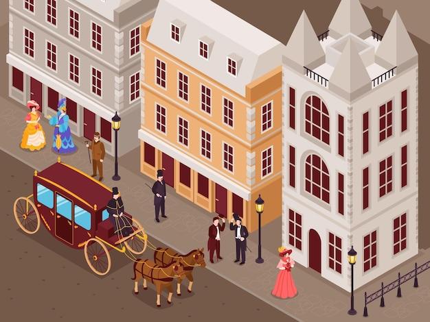 Rua da era vitoriana com casas na cidade, cavalheiros, senhoras em saias elegantes de crinolina, carruagem vista isométrica