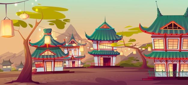 Rua da vila chinesa com antigas casas típicas