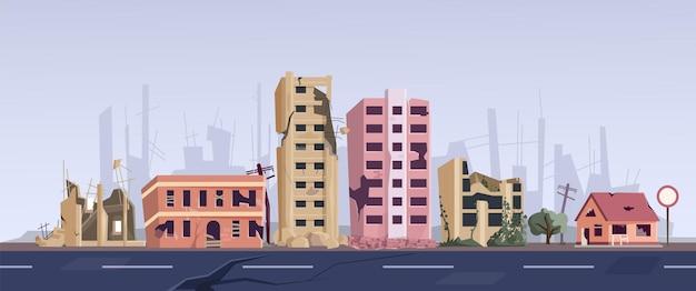 Rua do gueto com casa abandonada em ruínas e prédio antigo. habitações em ruínas ficam à beira da estrada, ruínas de cidades destruídas após explosão, guerra de desastres naturais ou ilustração vetorial de terremoto