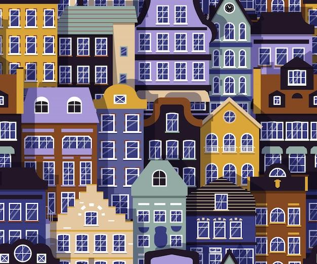 Rua edifício padrão sem emenda. casa europeia em camadas com fundo de sombra. sinal de arquitetura plana dos desenhos animados de cor.