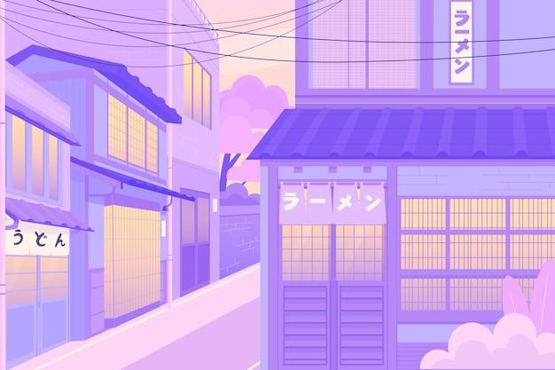 Rua japonesa em tons pastel