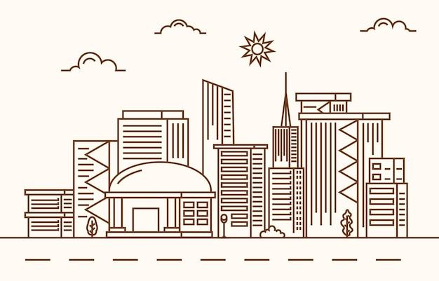 Rua modern city skyscraper building cityscape linha ilustração