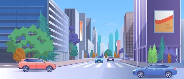Rua no centro da cidade, tráfego de carros na paisagem urbana na estrada, arranha-céus de luxo com lojas
