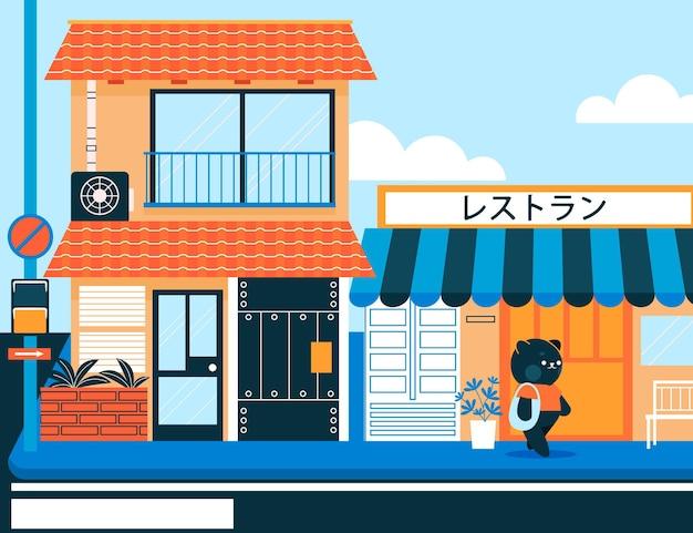 Rua tradicional do japão com personagens