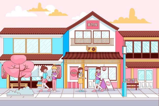 Rua tradicional japonesa com pessoas caminhando