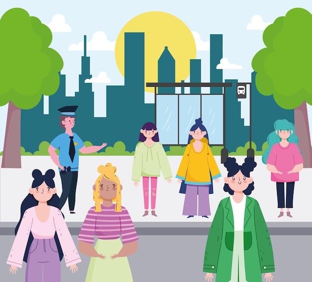 Rua urbana de pessoas