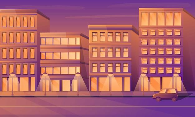 Rua vazia da cidade dos desenhos animados com construções na manhã, ilustração do vetor.