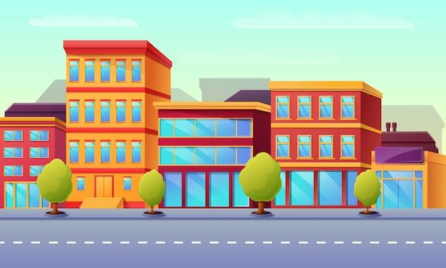 Rua vazia da cidade dos desenhos animados com construções na manhã, ilustração.