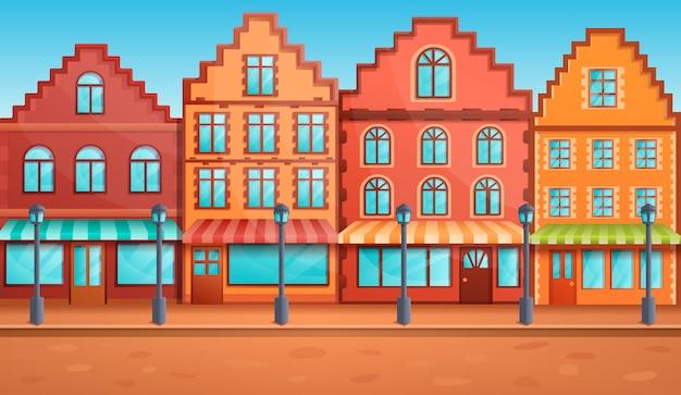 Rua velha dos desenhos animados com restaurantes, ilustração