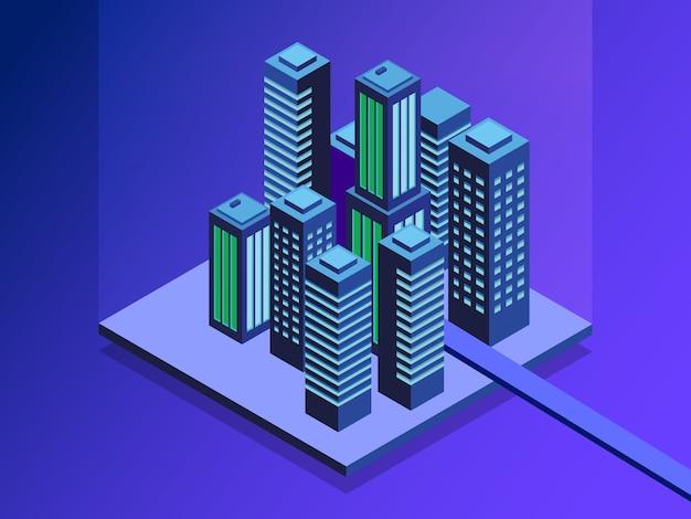 Ruas da cidade conectadas a rede de computadores.