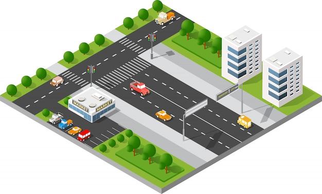 Ruas da cidade de transporte