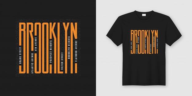 Ruas de brooklyn, t-shirt e vestuário elegantes, tipografia,
