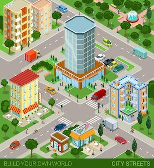 Ruas do bloco da cidade transportam habitantes ilustração vetorial.