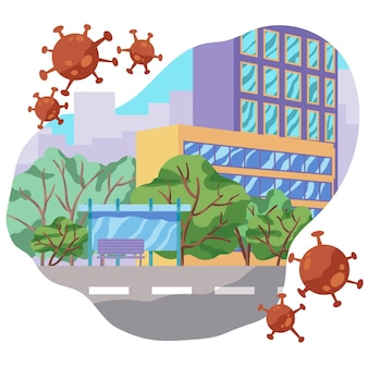 Ruas urbanas vazias por causa do vírus pandêmico