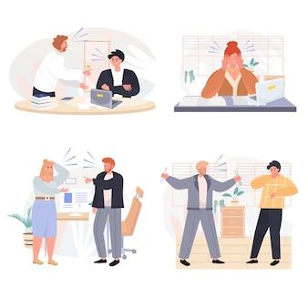 Rudeza em cenas de conceito de equipe de negócios definir ilustração vetorial de personagens