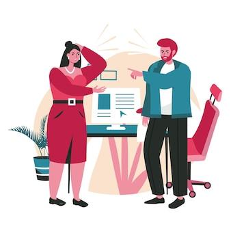 Rudeza em um conceito de cena de equipe de negócios. funcionários ou gerentes do homem e da mulher discutindo. problemas, conflitos, estresse no trabalho de escritório. ilustração em vetor de personagens em design plano