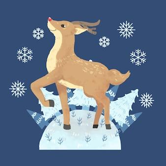 Rudolph de nariz vermelho na paisagem de inverno