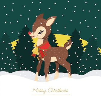 Rudolph o fundo de rena de nariz vermelho