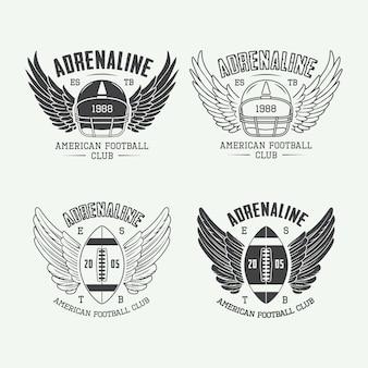 Rugby e emblemas de futebol americano e logotipo.