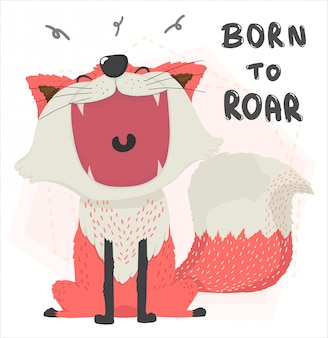 Rugido de boca aberta plana fofo outono raposa laranja, nascido para rugir, personagem animal bonito