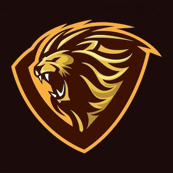 Rugir leão mascote ilustração, escudo, emblema e forte