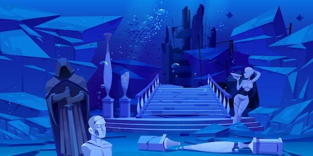 Ruínas antigas, arquitetura antiga submersa no mar ou oceano.