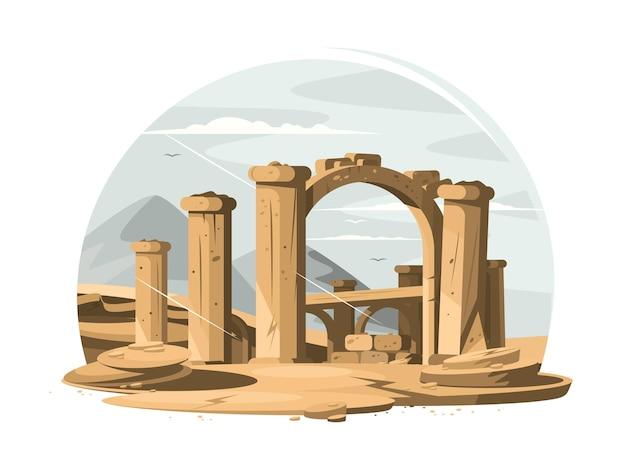 Ruínas arquitetônicas de antigas colunas de pedra e arco