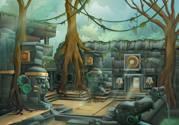 Ruínas, ilustração da selva