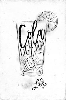 Rum claro cocktail com letras