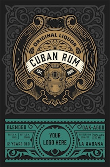 Rum label vintage retrô
