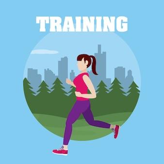 Runing de mulher no parque rodada design gráfico ilustração em vetor símbolo