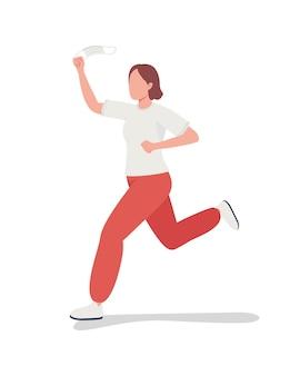 Running girl remove a máscara de personagem de vetor de cor semi plana. figura feliz. pessoa de corpo inteiro em branco. fim do bloqueio isolado ilustração do estilo dos desenhos animados modernos para design gráfico e animação