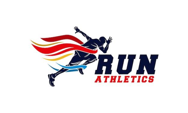 Running man silhouette logo com fita de acabamento